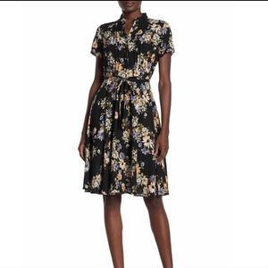 Nanette Lepore 10 Floral Print Belted Dress Cloud